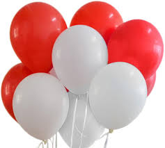 10 Helium Gas filled Red and white Balloons tied to ribbons