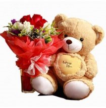 Teddy (12 inches each) with 12 Red and White Roses bouquet