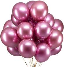 15 Pink helium gas filled balloons tied with ribbons