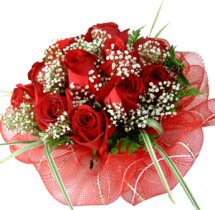 15 red roses basket