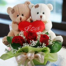 2 Teddies (6 inches each) with Valentine heart and 3 Red Roses in same Basket