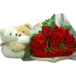 A dozen red roses and 2 Brown teddy bears (6 inches)