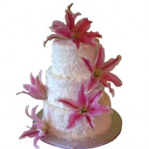 3 Kg pineapple 3 tier Cake decorated with pink lilies