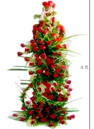 TALL Arrangement of lovely long stem 100 red roses