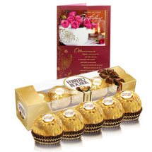 5 Ferrero rocher chocolates with Card