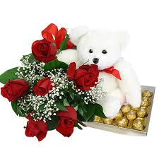 Teddy (6 inches) with 6 red roses and 16 Ferrero Chocolates