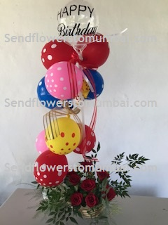 10 Polka dotted Balloons Air filled with happy birthday print balloon 8 roses