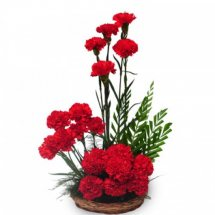 18 Red Carnations in a basket