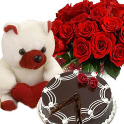 1/2 Kg Chocolate Cake + 24 red roses basket + Teddy