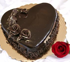 1 Kg 5 Star Bakery Eggless Heart Chocolate Cake
