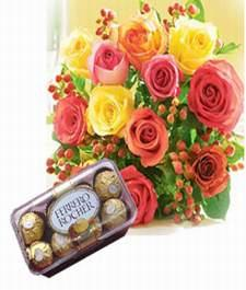 Box of 16 pieces Fererro Rocher chocolates.+12 Coloured roses