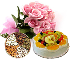 Half Kg Fruit Cake 12 Pink roses bouquet 1/2 Kg dry fruit box