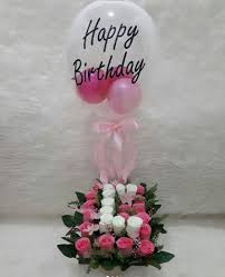 30 Pink White rose in 2 pink balloons inside transparent Balloon Printed with Happy Birthday