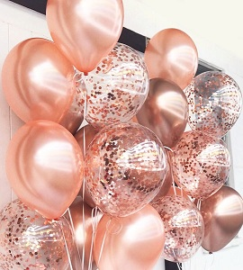 20 Rose Gold helium Gas filled balloons filled tied with ribbons