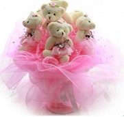 Bouquet of 9 Teddies 6 inches each