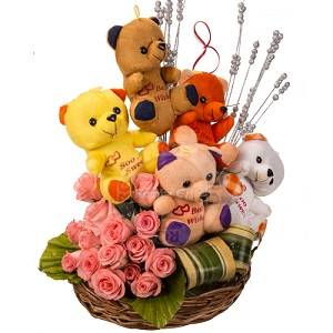 5 Teddies 12 pink roses in same basket