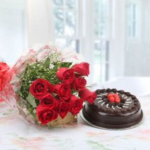 1 Kg Cappuccino Cake from Theos and 12 red roses bouquet