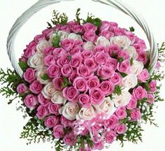 80 Pink and white roses ALTERNATE heart in Basket