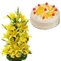 1/2 kg Pineapple Cake with Yellow Lilies basket