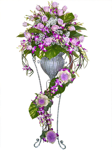 TALL Arrangement of lovely purple roses and purple orchids on a wrought iron stand