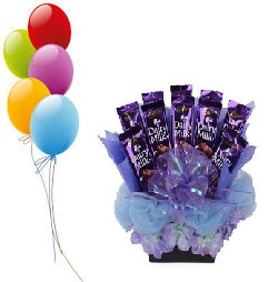 5 Air Balloons with 10 Dairy milk chocolate in a bouquet
