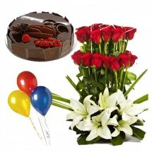 1/2 Kg Chocolate Cake with 3 Balloons and Red roses white lilies basket