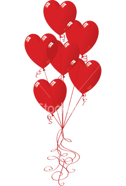 12 red heart Balloons AIR FILLED