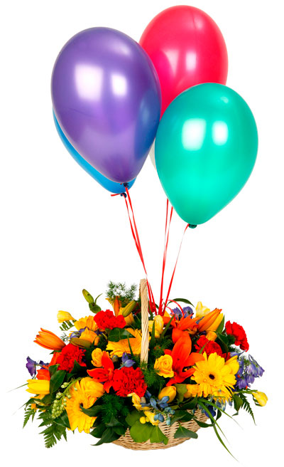 24 Mix Flowers Basket and 4 balloons