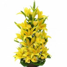 10 yellow lilies in basket