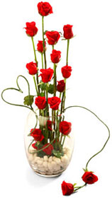 24 red roses in a basket