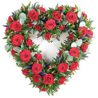 Heart shaped arrangement of 125 roses.