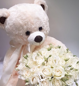 12 inches White Teddy bear with 20 white roses basket