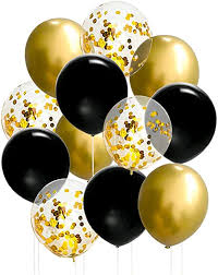 15 Gas filled gold confetti black Balloons tied to ribbons