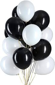15 Helium Gas filled Black and White Balloons tied to ribbons