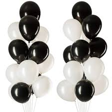 20 Helium Gas filled Black and White Balloons tied to ribbons