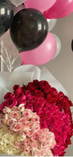 4 roses bouquet 15 white 15 light pink 15 dark pink 15 red with 15 pink white and black balloons