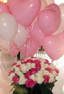 20 pink and white gas filled balloon bouquet with 20 pink and white roses bouquet