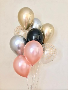 15 Gas inflated rose gold Black Pink and confetti Balloons tied with ribbons