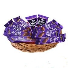 10 Dairy Milk chocolates in a basket