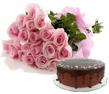 1/2 Kg Chocolate Cake with 24 Pink Roses bouquet