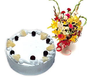 Bouquet of flowers and a Cake.
