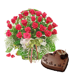 1 Kg Chocolate Cake and 24 Red Roses Basket