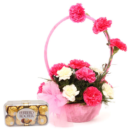 12 pink white carnations in handle basket with 16 Ferrero rocher chocolate box