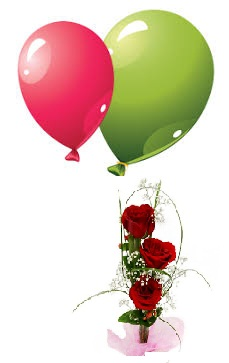 2 air filled Balloons 3 Red roses hand tied