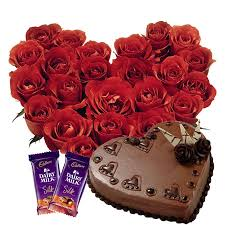 25 red Roses heart 1 Kg chocolate heart shaped Cake 2 Silk chocolates
