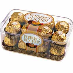 Box of 16 pieces Fererro Rocher chocolates.