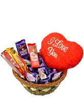 Small assorted chocolate basket with Valentine heart