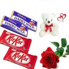 One red roses, 2 dairy milk, 2 kit kat, Teddy- 6 inches