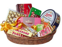 Large Chocolates Basket (16 pieces Ferrero Vochelle Toblerone Danish cookies etc)