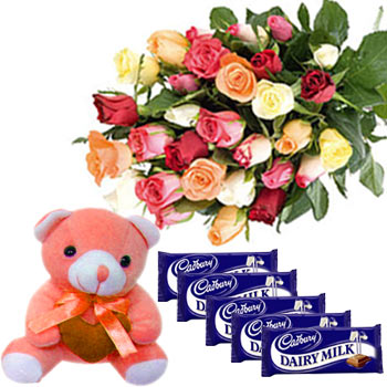 5 dairy Milk chocolates+Teddy+12 Mix Roses